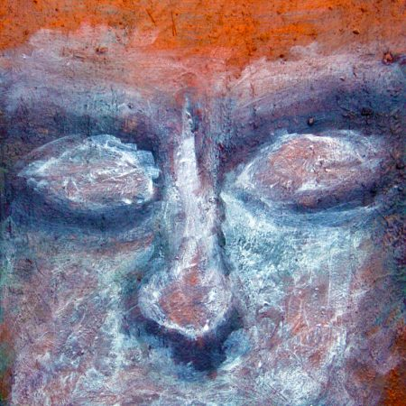 """""""Blue Face"""" (Oil Paint - on Canvas 20cm x 38cm)"""