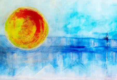 """Blue Lines"" (Acrylic & Gouache - canvas- A3) 1"
