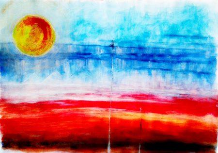 """Blue Lines"" (Acrylic & Gouache - canvas- A3)"